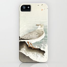 Seagulls at the beach - Vintage Japanese woodblock print Art iPhone Case