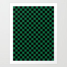 Black and Cadmium Green Checkerboard Art Print