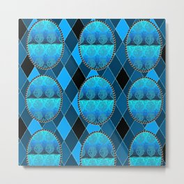 FDL BLUE Holiday Pattern Metal Print