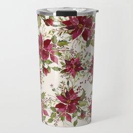 Poinsettia Pattern Travel Mug