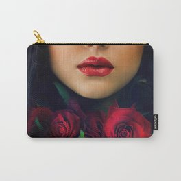 Beautiful Fashion Girl with Roses Carry-All Pouch