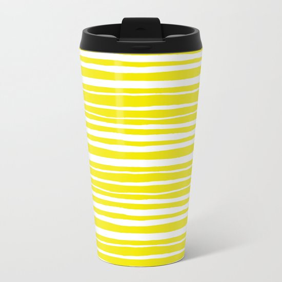 Small Sun Yellow Handdrawn horizontal Beach Stripes - Mix and Match with Simplicity of Life Metal Travel Mug