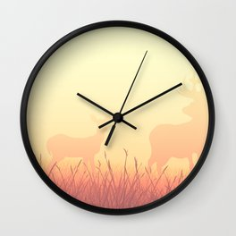 sunset in the meadow Wall Clock