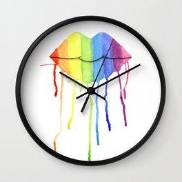Rainbow Lips Wall Clock