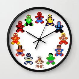 Superhero Gingerbread Man Wall Clock