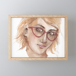 Woman in glasses by watercolors Framed Mini Art Print