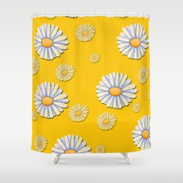 Tossed White Daisies Yellow Background Shower Curtain