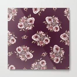 Burgundy Flower Pattern with Pink Flowers Metal Print