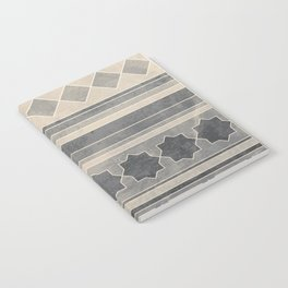 Ethnic geometric pattern with triangles circles shapes and lines, blue gray and beige Notebook