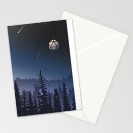 Falling Stars Full Moon D20 Dice Tabletop RPG Landscape Stationery Cards