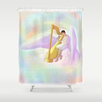 castiel Shower Curtains featuring Castiel by Jennilah
