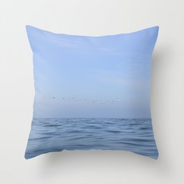 Minimalist seascape - flying gannets off the coast of Wales, UK - travel photography Throw Pillow