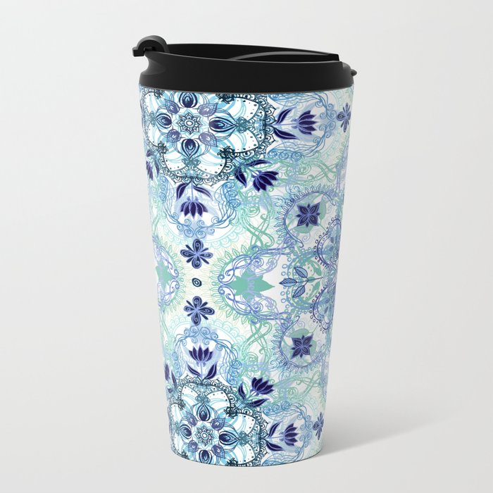 Navy Blue, Green & Cream Detailed Lace Doodle Pattern Metal Travel Mug