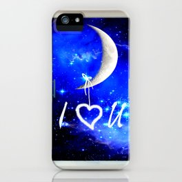 I Love You Heart Hanging from Moon Window Stars Bedroom Art A568 iPhone Case