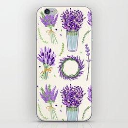 Modern ivory lavender purple vector floral pattern iPhone Skin