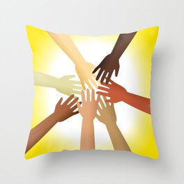 Diverse Hands Throw Pillow