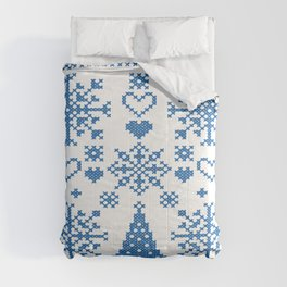 Christmas Cross Stitch Embroidery Sampler Teal And White Comforters