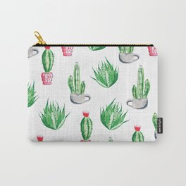 Pot plants with Cacti Pattern // Modern watercolor plants design Carry-All Pouch