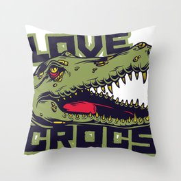 Love Crocs Crocodile Lover Throw Pillow