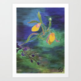 Yellow Lady Slippers: Orchid Series Art Print