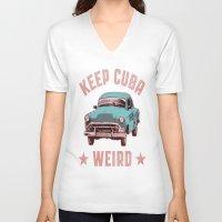 cuba V-neck T-shirts featuring Weird Cuba by Tenacious Tees