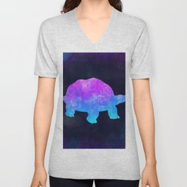 TORTOISE IN SPACE // Animal Graphic Art // Watercolor Canvas Painting // Modern Minimal Cute Unisex V-Neck