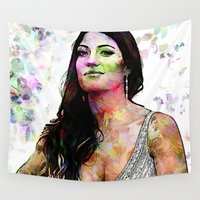 dexter Wall Tapestries featuring Portrait of Dexter Actress :  Jennifer Carpenter  by André Joseph Martin