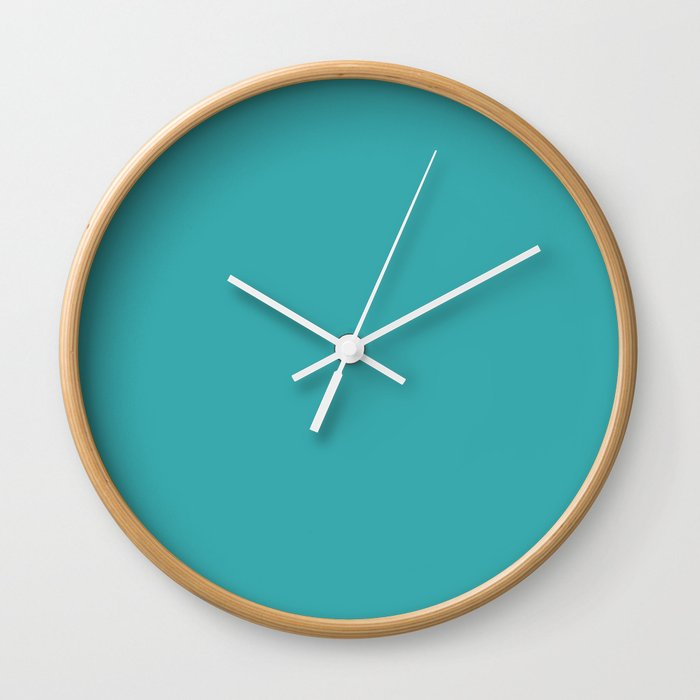 Aqua / Teal / Turquoise Solid Color Pairs with Sherwin Williams 2020 Trending Color Aquarium SW6767 Wall Clock