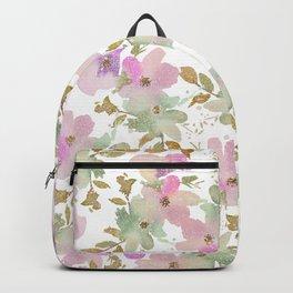 Pink violet mint green gold glitter floral Backpack