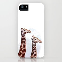 Vintage giraffe animal print cute giraffes iPhone Case