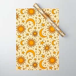 Vintage Sun and Star Print Wrapping Paper