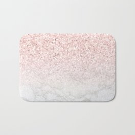 Pink Rose Gold Glitter and Marble Bath Mat