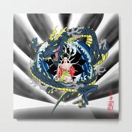 Geisha and the Dragon Metal Print