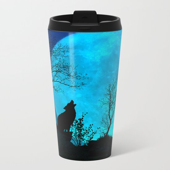 Howling wolf Metal Travel Mug