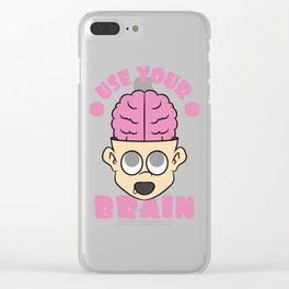 Use Your Brain T-shirt Design with a nice image of a Boy with his Brain out Pinky Brainy Stupid Clear iPhone Case
