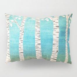 Turquoise birch forest Pillow Sham