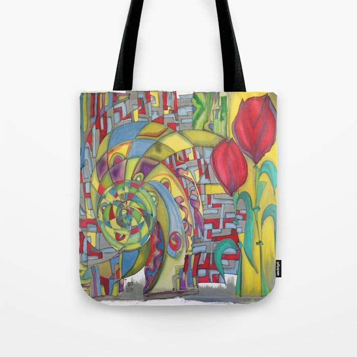 abstract red flower Tote Bag