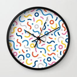 Memphis Inspired Pattern Wall Clock
