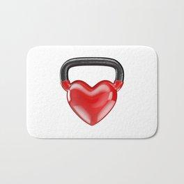 Kettlebell heart vinyl / 3D render of heavy heart shaped kettlebell Bath Mat