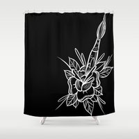 artsy Shower Curtains featuring artsy rose by Frank Ready