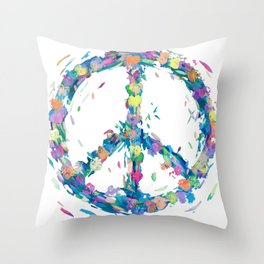 Pastel Hearts Whirled Peace & Love Throw Pillow