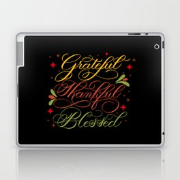 Grateful, Thankful, Blessed Design on Black Laptop & iPad Skin