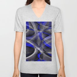 Eighties Groovy Royal Blue and Grey Arched Line Pattern Unisex V-Neck