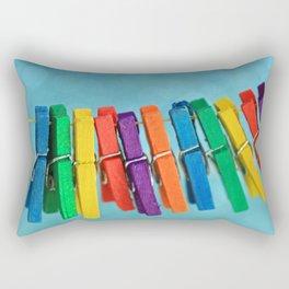 Colorful Clothespins Rectangular Pillow