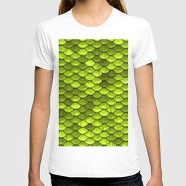 Beautiful Key Lime green mermaid fish Scales T-shirt