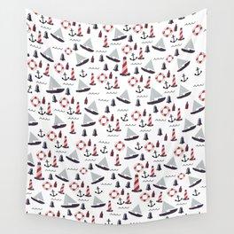 Micro Nautical Pattern Wall Tapestry