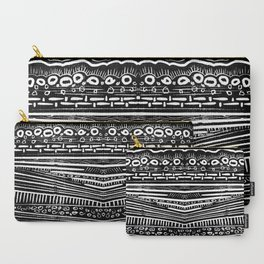 Linocut Tribal Pattern Carry-All Pouch