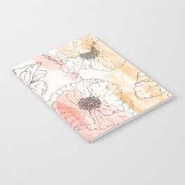 Watercolor Poppies Seamless Print Notebook
