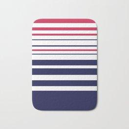 Striped red blue white Bath Mat
