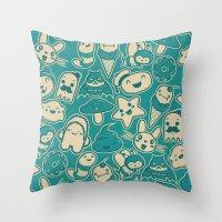 kawaii Throw Pillows featuring Kawaii by Hoborobo